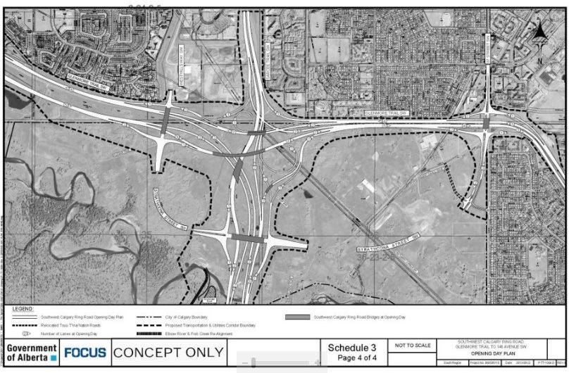 Map of plan for Southwest Calgary Ring Road