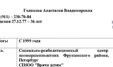 Голикова Анастасия Владимировна