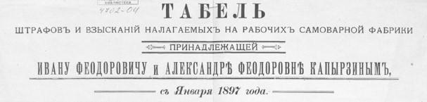 Табель штрафов и взысканий налагаемых на рабочих самоварной фабрики
